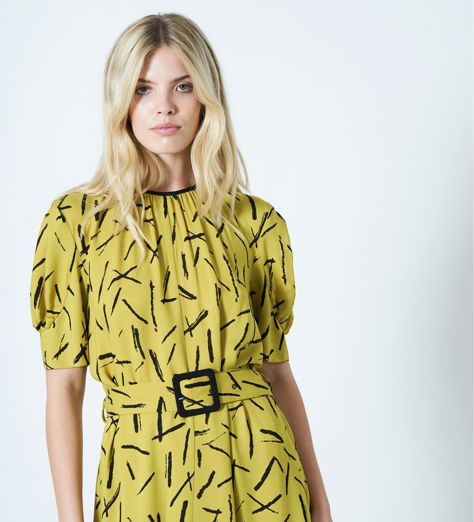 Cora Belted Printed Dress