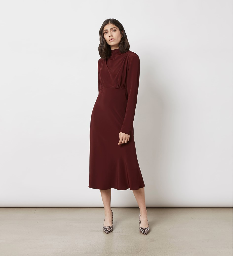 Portland Burgundy Midi Dress