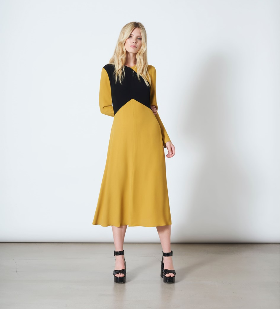 Gracie Mustard and Black Dress