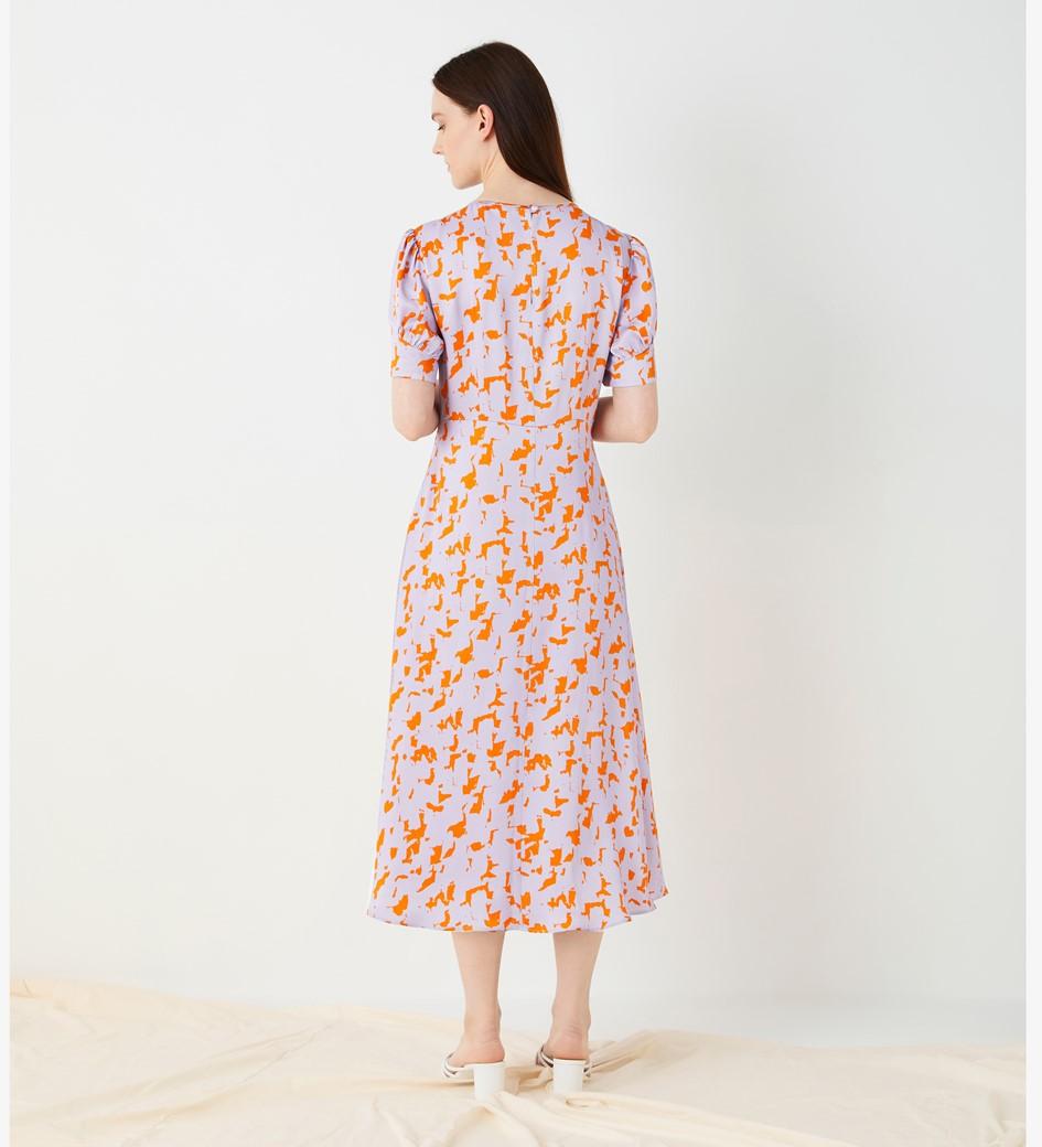 Megan Printed Satin Dress