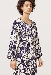 Helix Silhouette Blue Floral Printed Dress