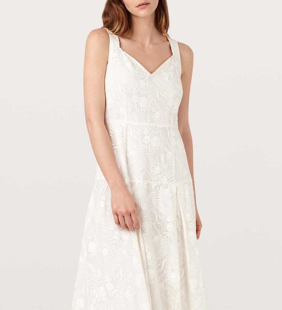Aland Ivory Silk Blend Embroidered Dress