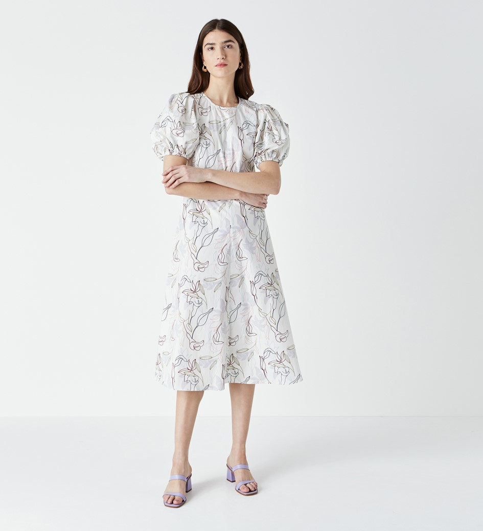 Marcilly Printed Puff Sleeve Dress