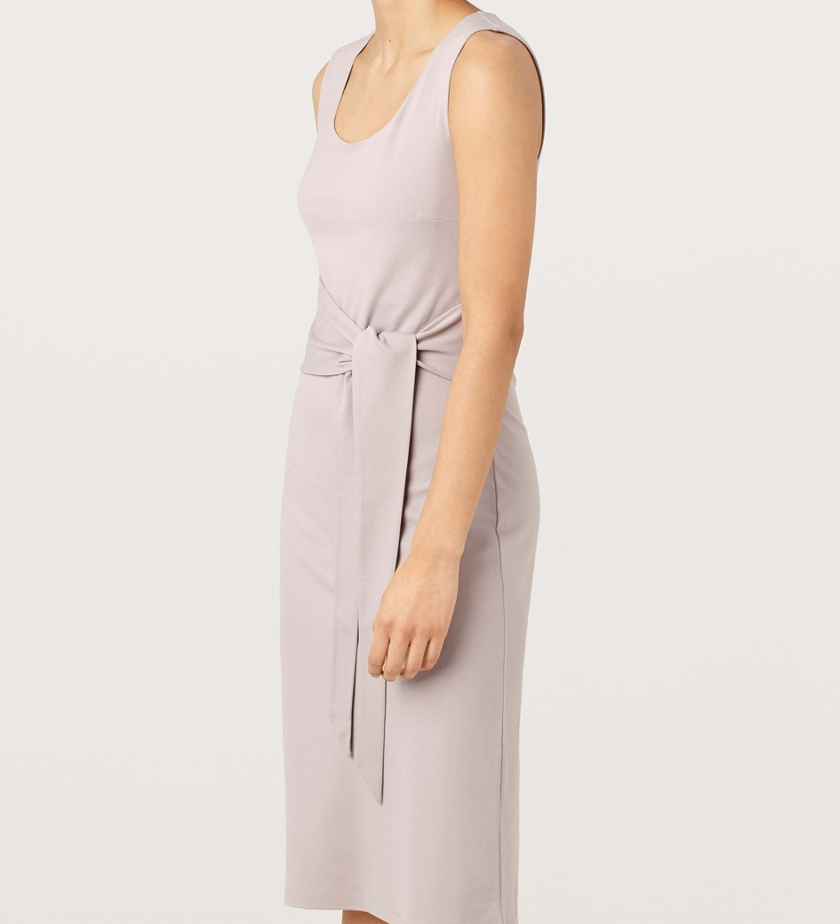 Gretton Lavender Grey Tie Front Midi Dress