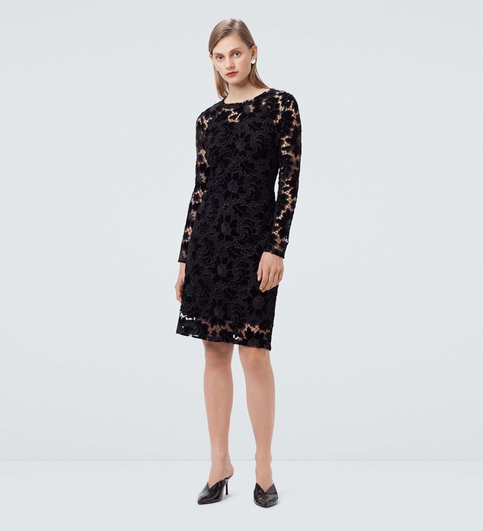 Basset Black Velvet Lace Dress