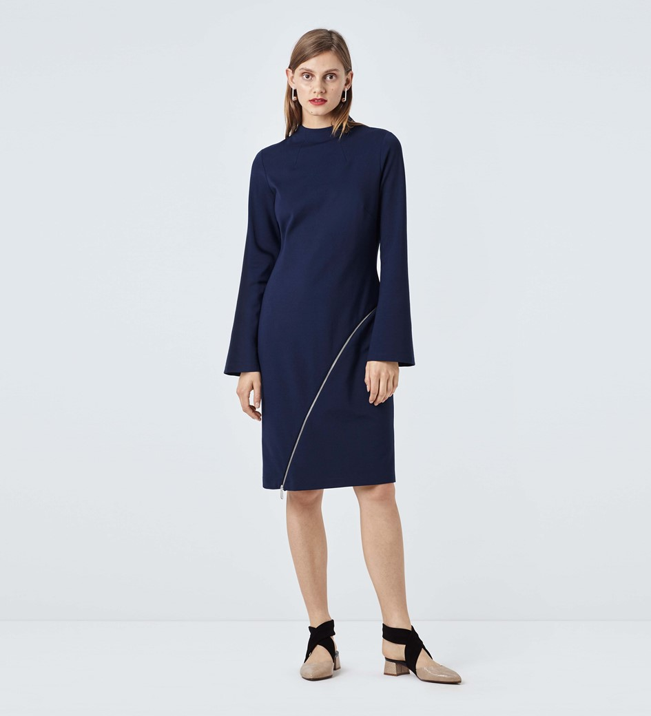 Elmore Funnel Neck Shift Dress with Front Zip