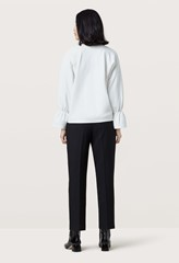 Dunsley White Gathered Cuff Sweatshirt