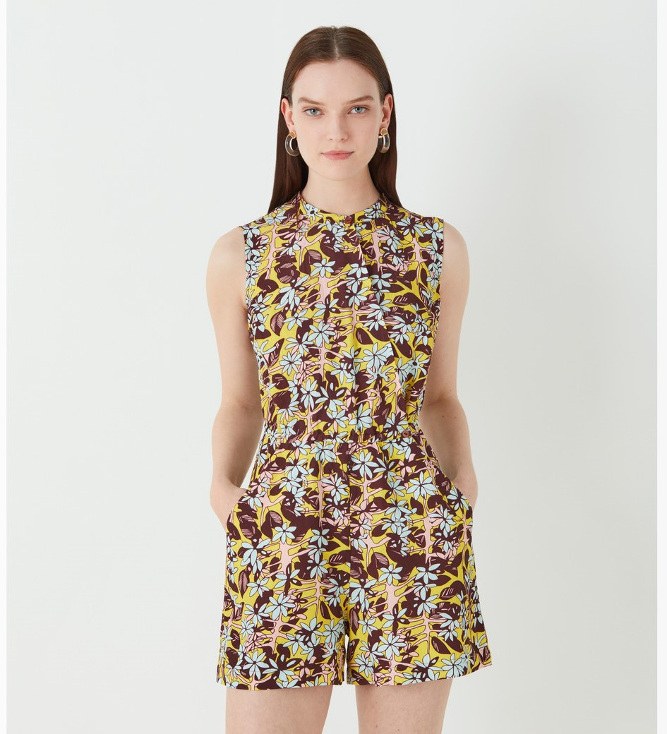 Violet Printed Linen Playsuit