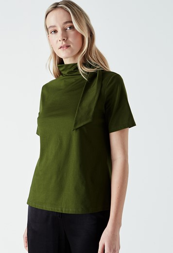 Cyrus Tie Neck Jersey Top