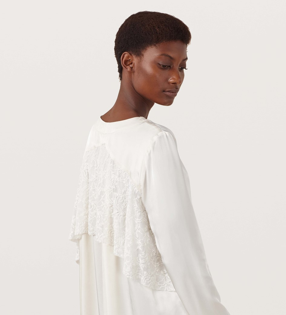 Waley Ivory Lace Back Detail Blouse