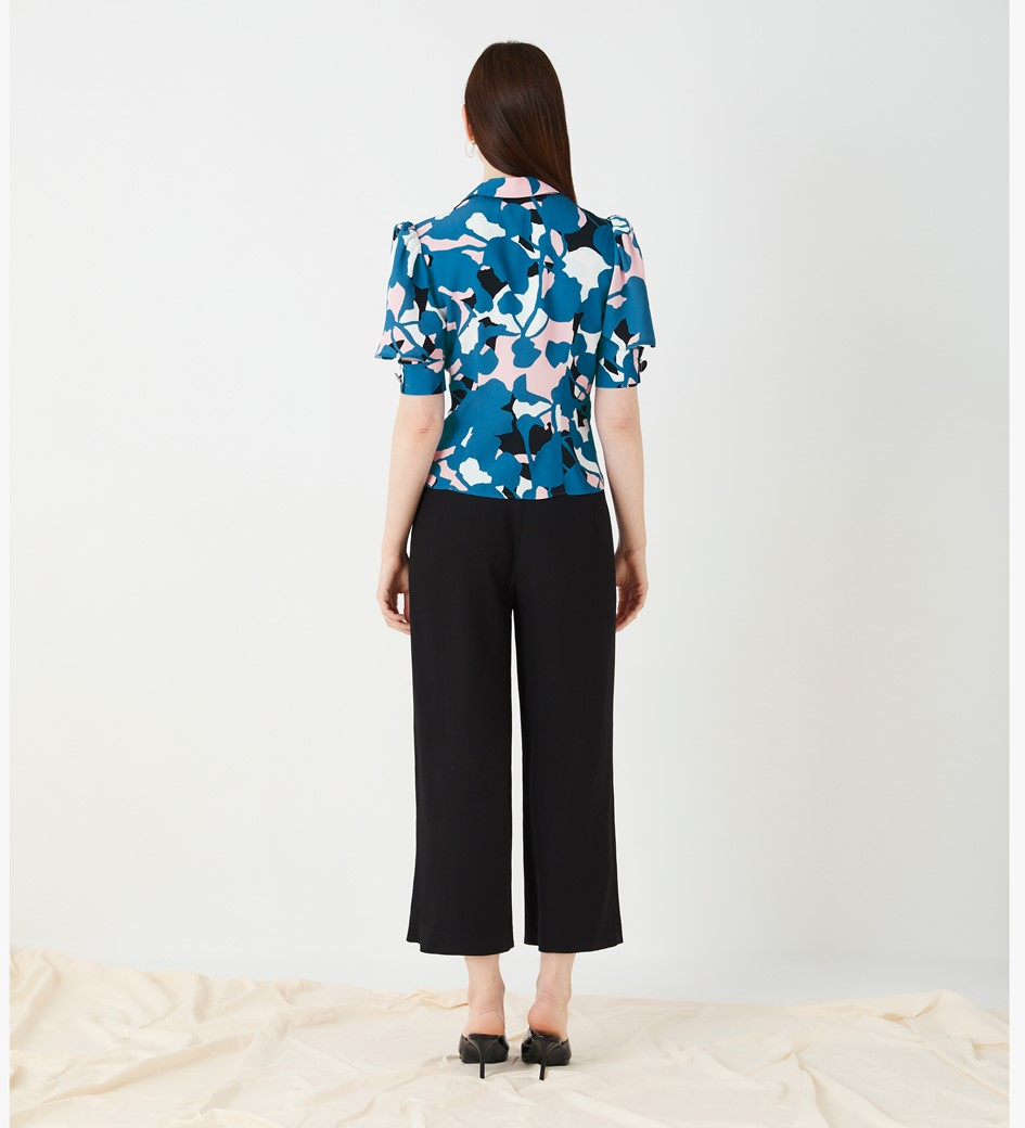 Merton Printed Button Front Top