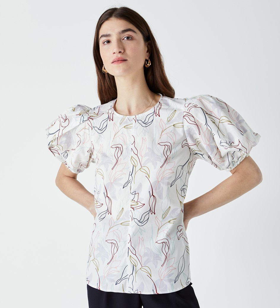 Kiara Puff Sleeve Printed Top