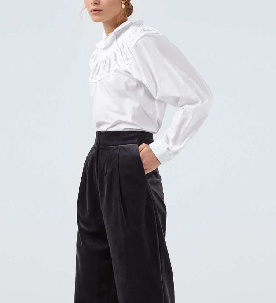 Alan Charcoal Velvet Peg Trousers