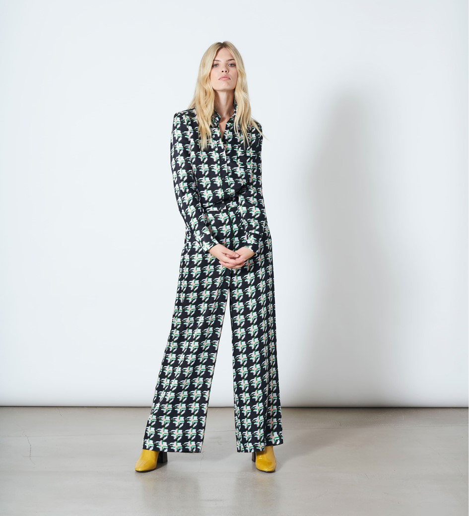 Ashbridge Houndstooth Print Trousers
