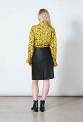 Alsen Black Leather A-line Skirt