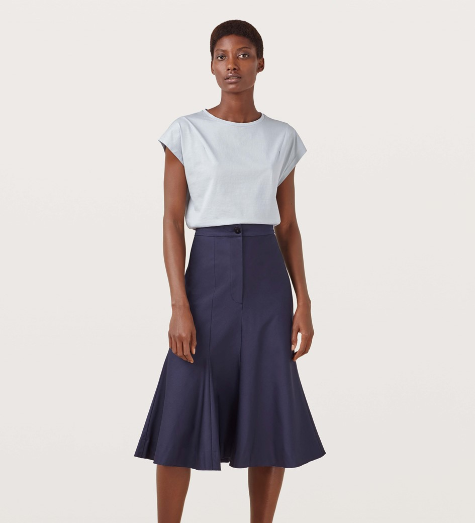 Aulay Fit and Flare Midi Skirt
