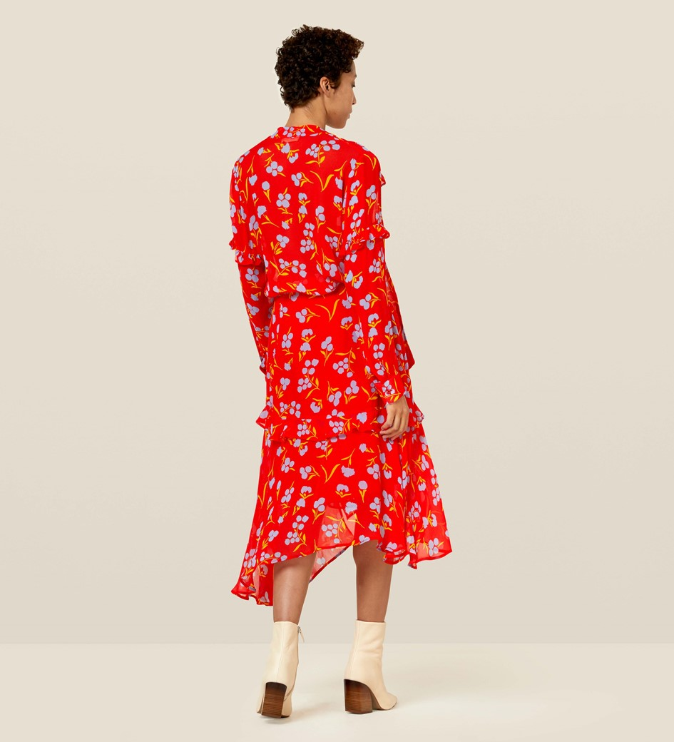 Molly Red Floral Asymmetric Skirt