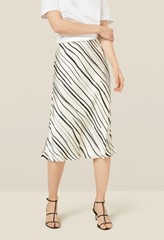 Blake Monochrome Striped Satin Skirt