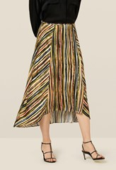 Mika Striped Dipped Hem Skirt