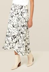 Eve Monochrome Floral Wrap Skirt
