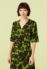 Hettie Green Shadow Print Asymmetric Wrap Dress