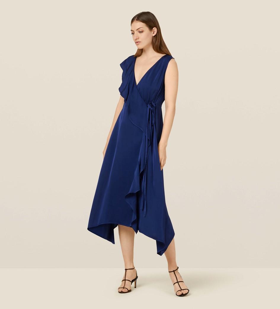 Layla Navy Satin Wrap Dress