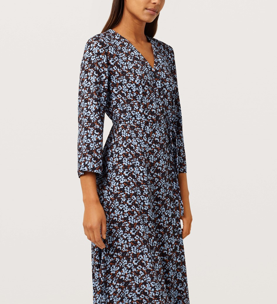 Daniella V-Neck Blue and Black Floral Dress