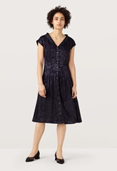 Arline Midnight Floral Jacquard Tea Dress