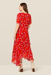 Nicole Red Frill Detail Dress