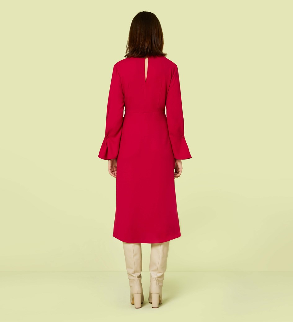 Lykke Cerise Flared Sleeve Midi Dress