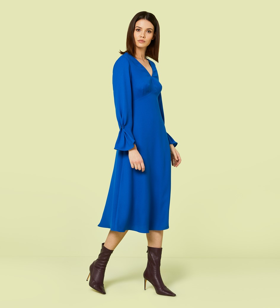 Lykke Cobalt Flared Sleeve Midi Dress
