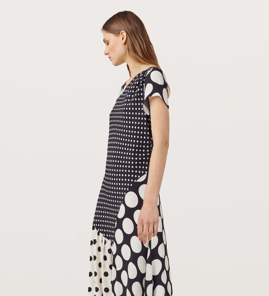 Haldane Black and Ivory Polka Dot Dress