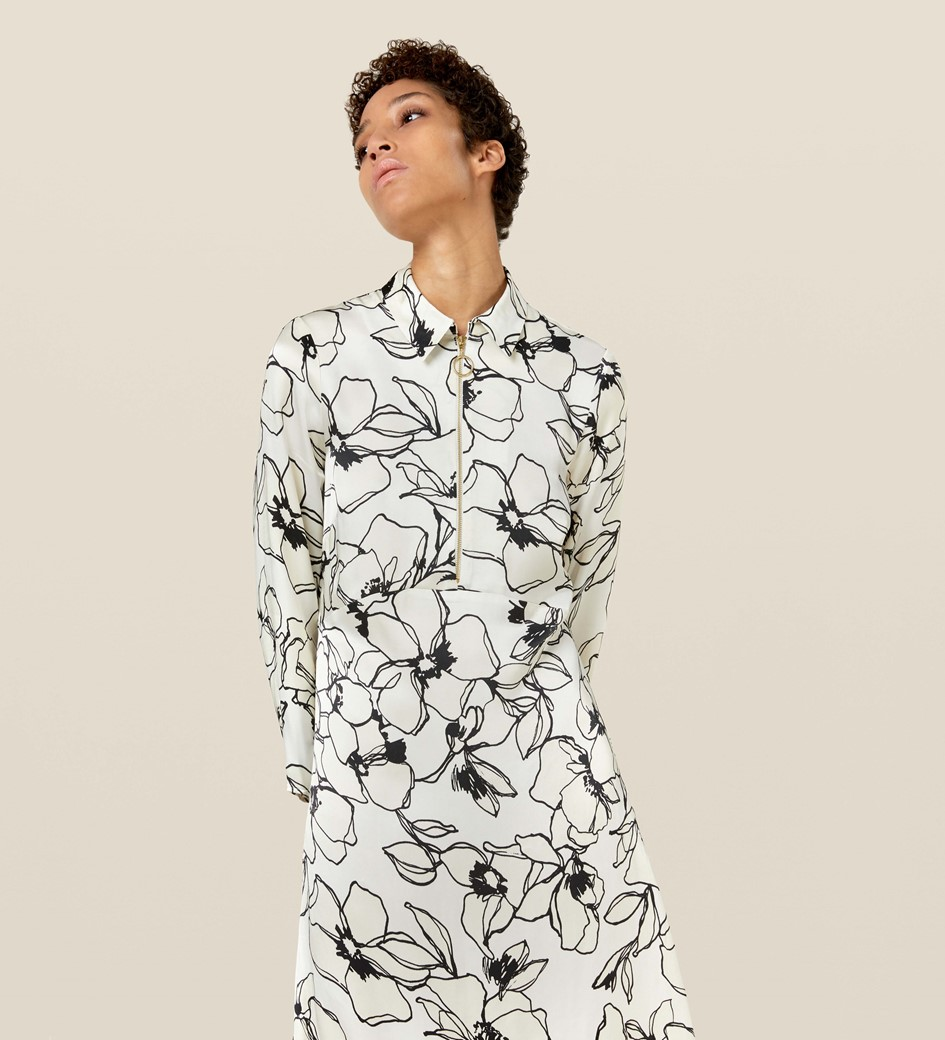 Jules Monochrome Floral Dress