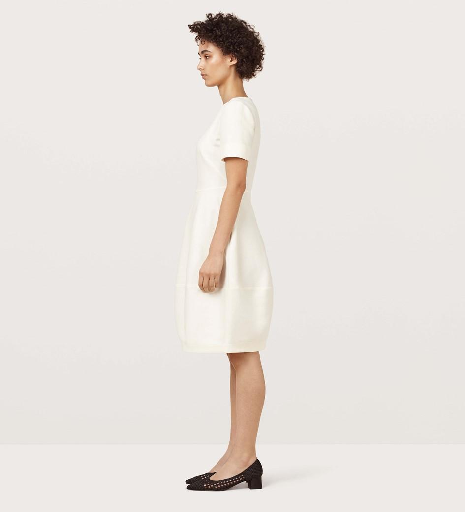 Nancy Ivory Cotton Linen Sculptural Dress