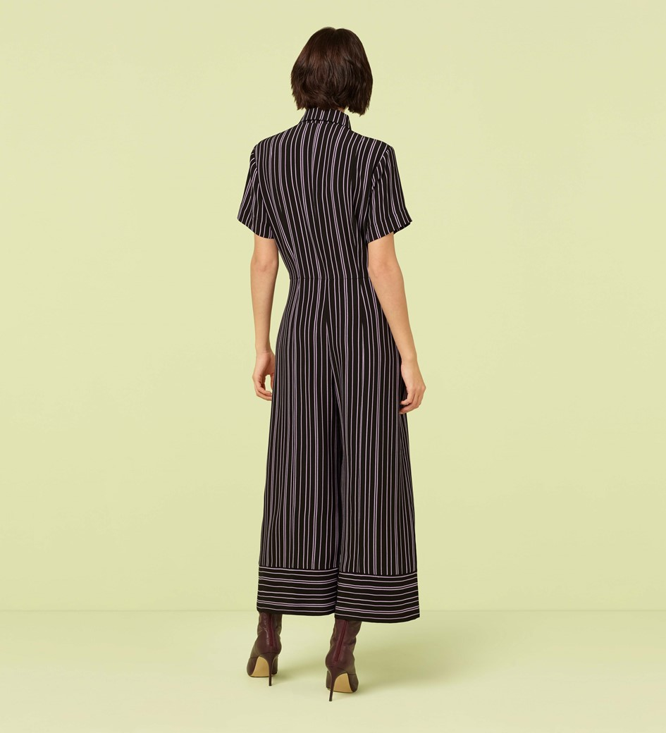 Alida Black and Lilac Striped Cropped Jumpsuit