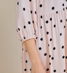 Alyssa Pink Spot Midi Dress