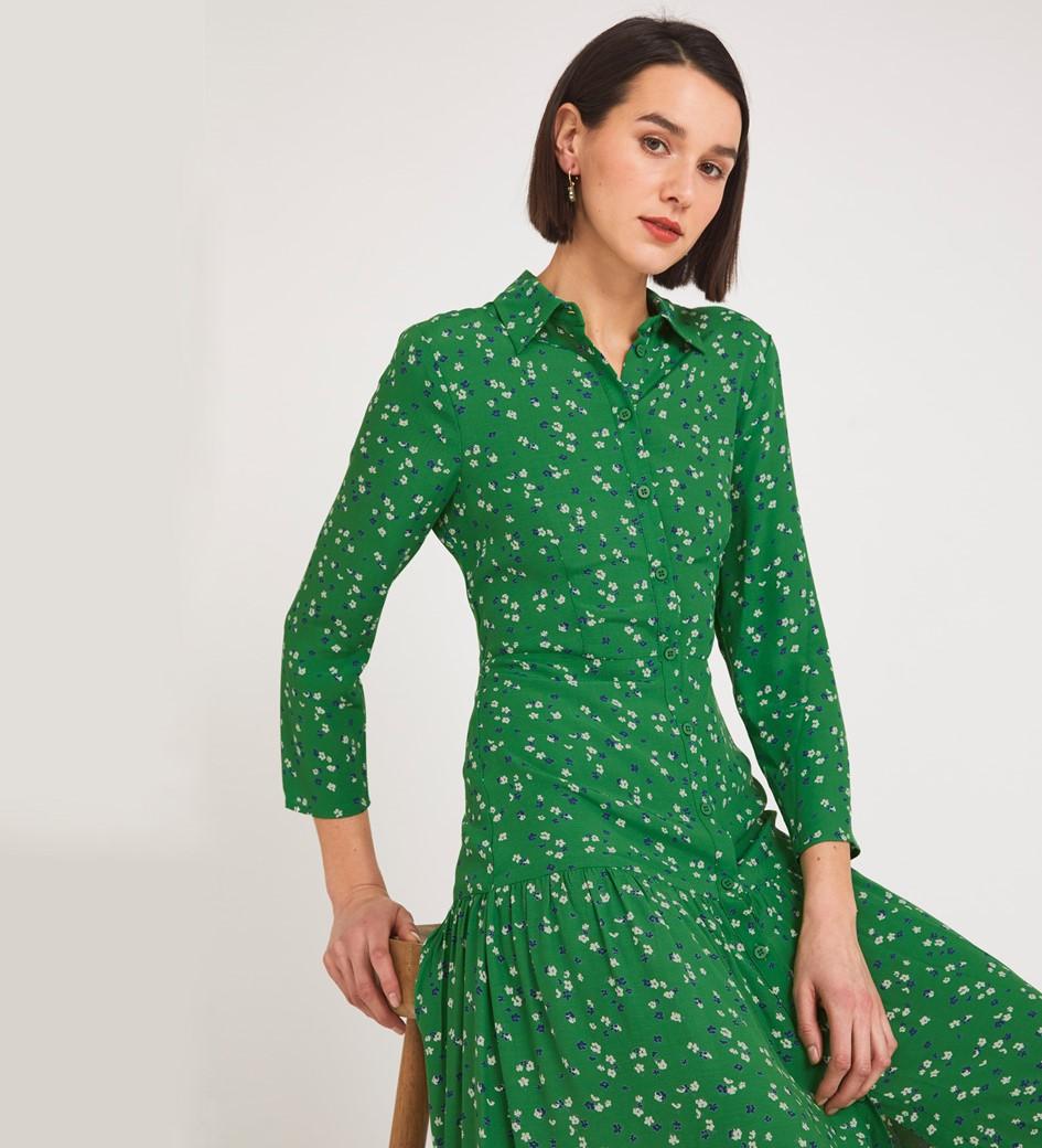 Liana Midi Green Floral Dress
