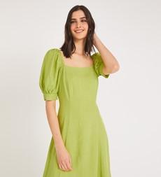 Kaylani Midi Linen Lime Green Dress