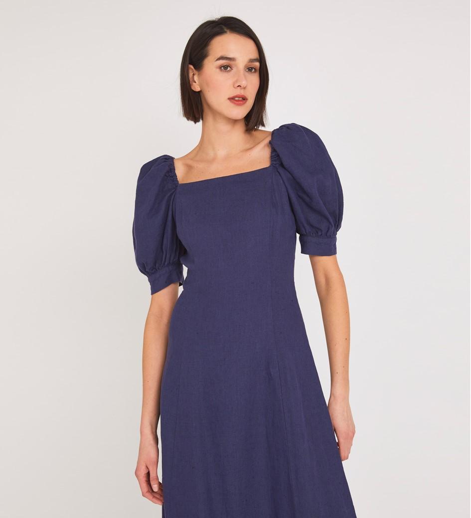 Kaylani Linen Midi Navy Dress