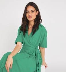 Sabine Midi Green Dress Linen Rich