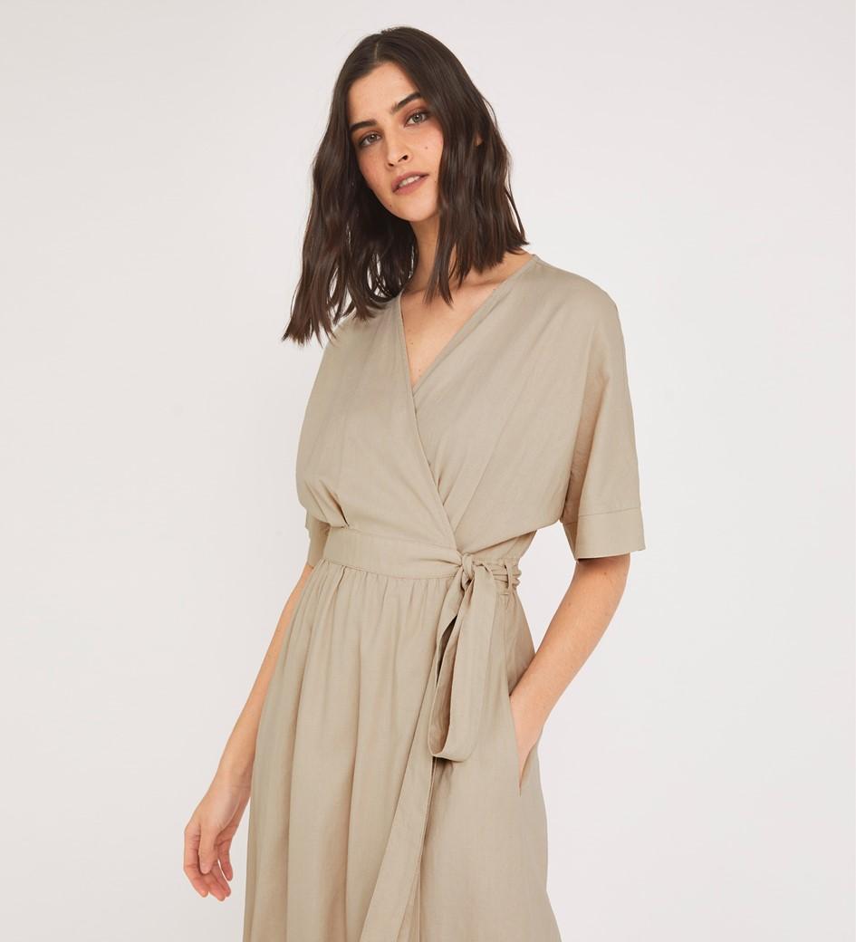 Sabine Midi Stone Dress Linen Rich