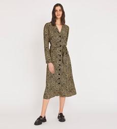Willow Midi Taupe Leopard Dress