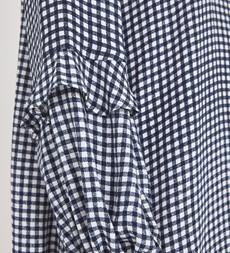 Rose Knee Length Navy Gingham Dress