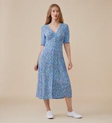 Fayre Midi Blue Ditsy Dress