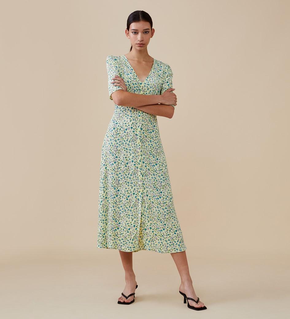 Fayre Midi Yellow Ditsy Dress