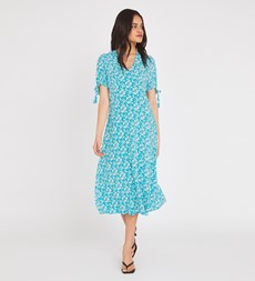Claire Knee Length Blue Leaves Dress