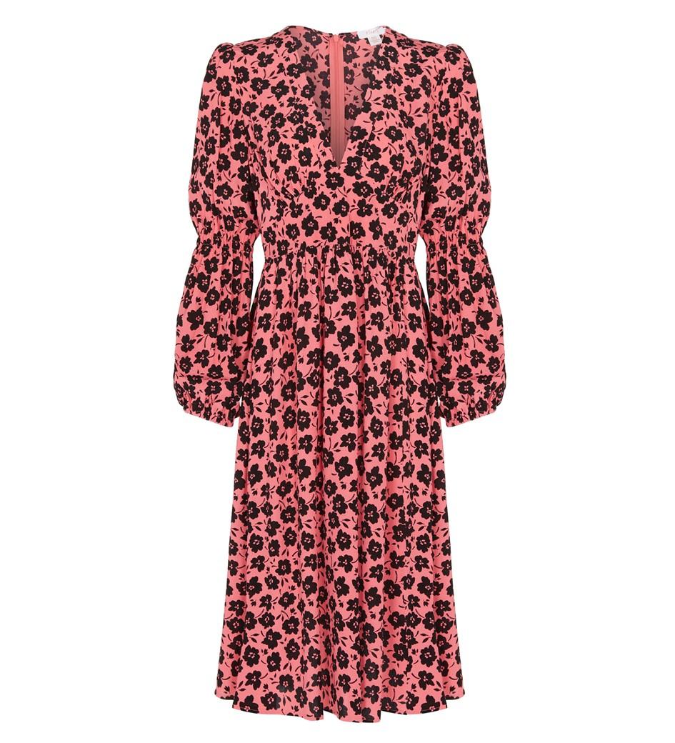 Inez Knee Length Coral Floral Dress