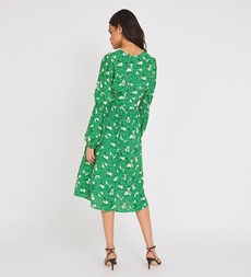 Inez Knee Length Green Floral Dress