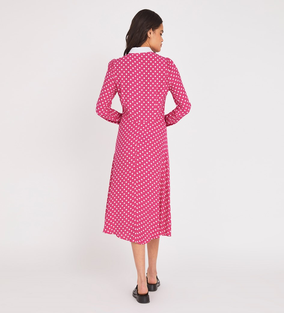 Julieta Midi Pink Spot Dress