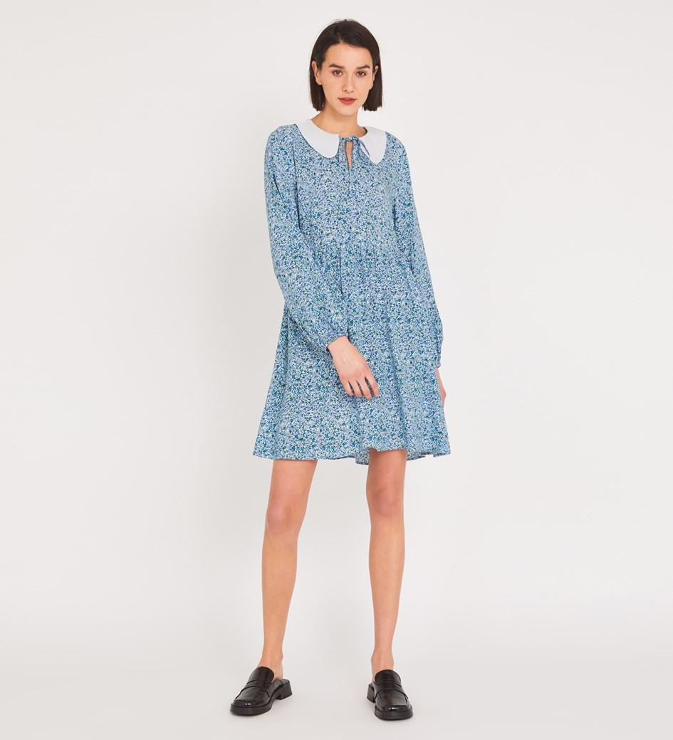 Rosanna Knee Length Blue Ditsy Dress